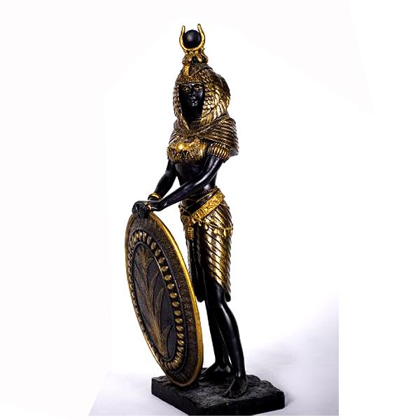 古代エジプト 盾を持ったイシス神(ブラック&ゴールド色)置物 彫刻 彫像/ Egyptian Goddess Isis Statue (輸入品)
