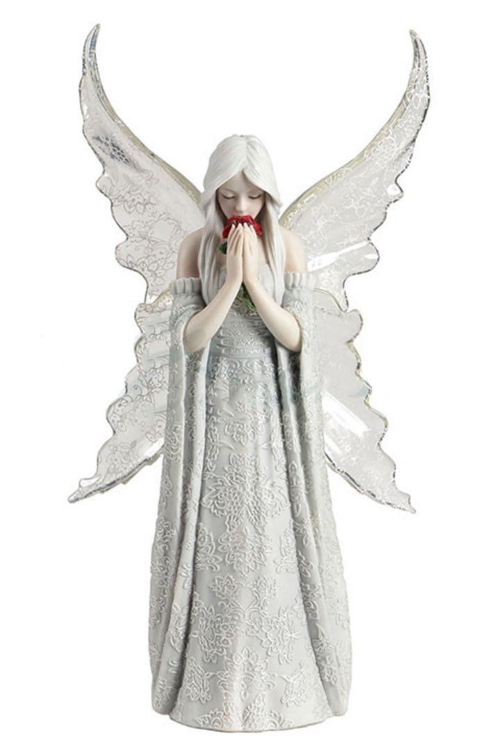 アン・ストークス作「 唯一の愛 」赤い薔薇を持った、妖精 ゴシック調フィギュア 彫刻 ファンタジーホーム装飾 彫像(輸入品)