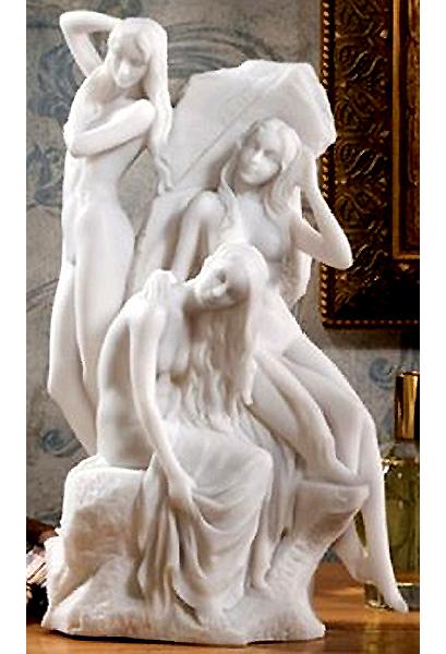 湯あみするニンフ 大理石風彫像 彫刻 高さ 約28cm/ The Bathers Water Nymph Statue, 11 Inch, Bonded Marble Polyresin, White(輸入品)