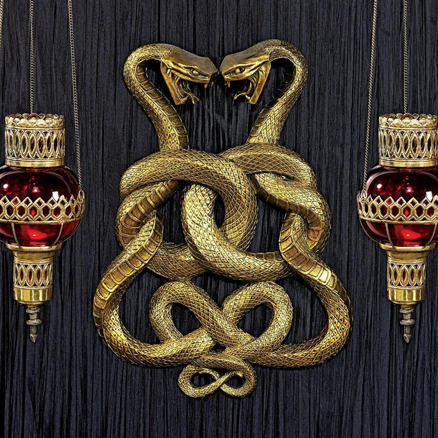 デザイン・トスカノ製 古代エジプト 無限大 2匹のコブラ 壁彫刻 彫像/ Egyptian Infinity Cobra Twins Wall Plaque(輸入品)