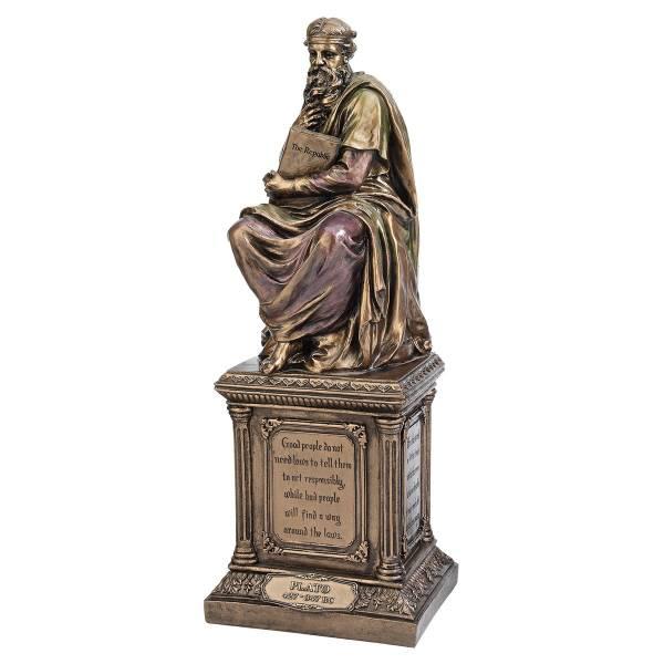 哲学者 プラトン ブロンズ風 彫像 彫刻 古代ギリシャ哲学者/ Bronze Finish Plato Statue Sculpture Figurine(輸入品)