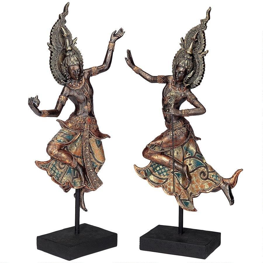 デザイン・トスカノ製、タイのテパノン寺院の踊り子像 彫像 彫刻/ Thai Teppanon Temple Dancer Statues(輸入品)