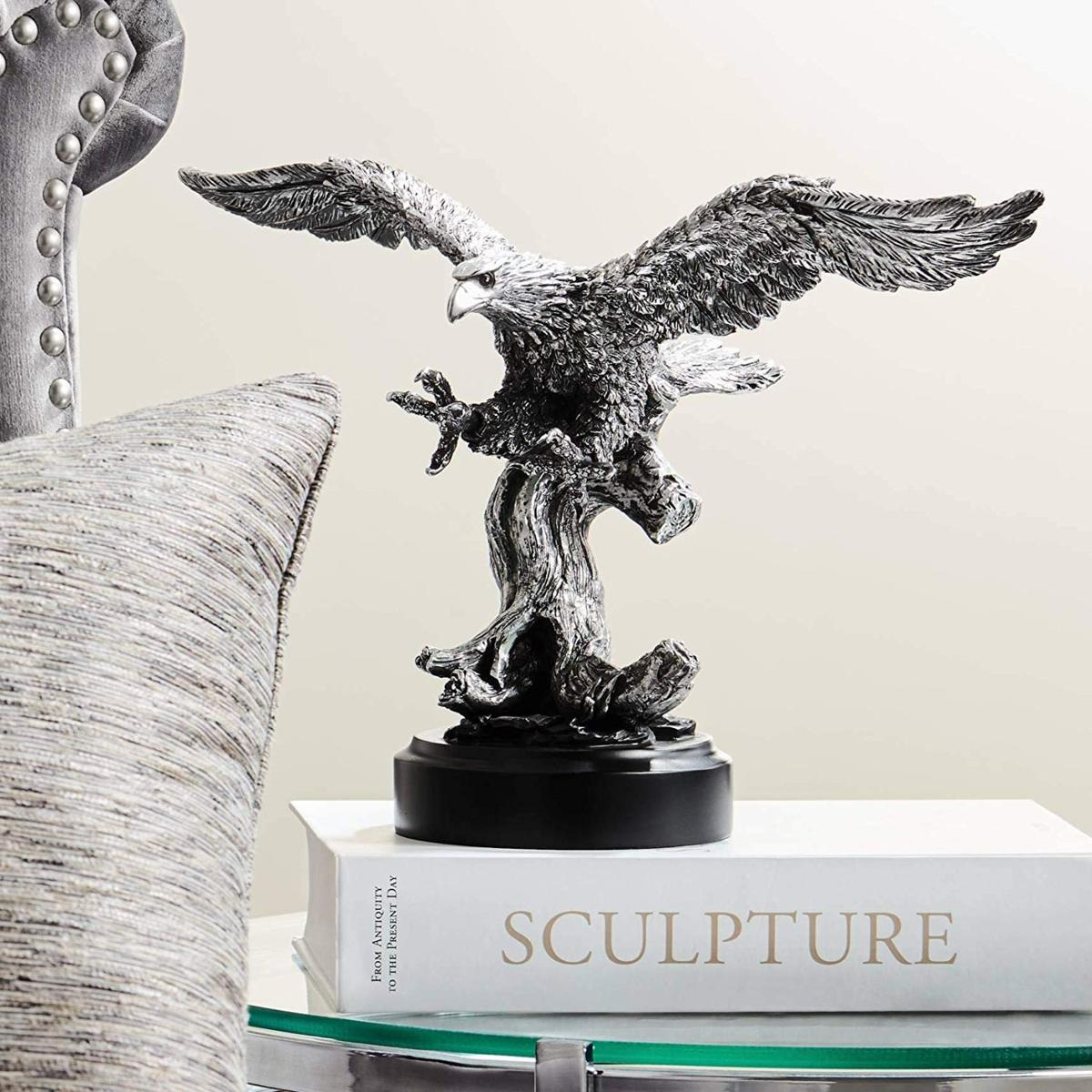 ケンジントンヒル製 素晴らしい、ピューター風 羽を広げた鷲(イーグル) 彫像 彫刻(輸入品)