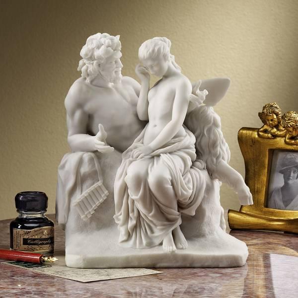 プシケ(プシュケ)を慰める牧神パン(パーン) デザイン・トスカノ製 大理石風彫像 彫刻(輸入品)