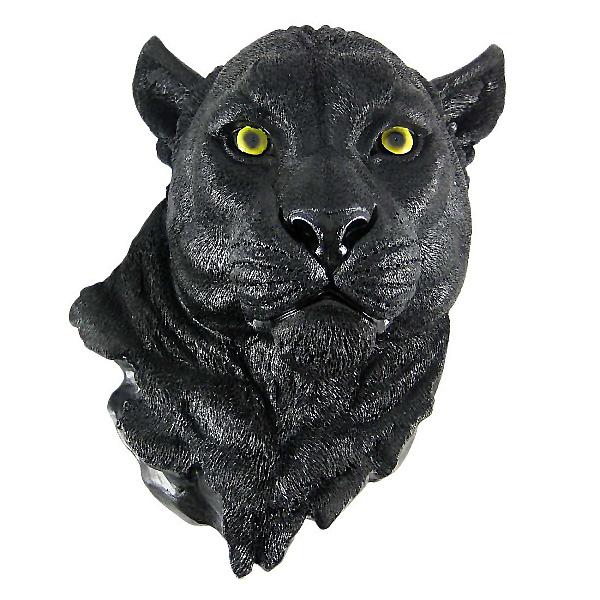 黒豹 頭部フィギュア ブラックパンサー 壁掛け剥製風 彫刻 彫像 /Black Panther Head Mount Wall Statue Bust(輸入品)