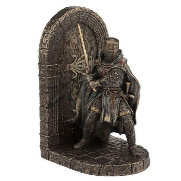 中世 マルタ十字軍 甲冑騎士 戦士ブックエンド 彫刻 彫像 / Medieval Armored Maltese Crusader Bookend Knight Statue(輸入品)