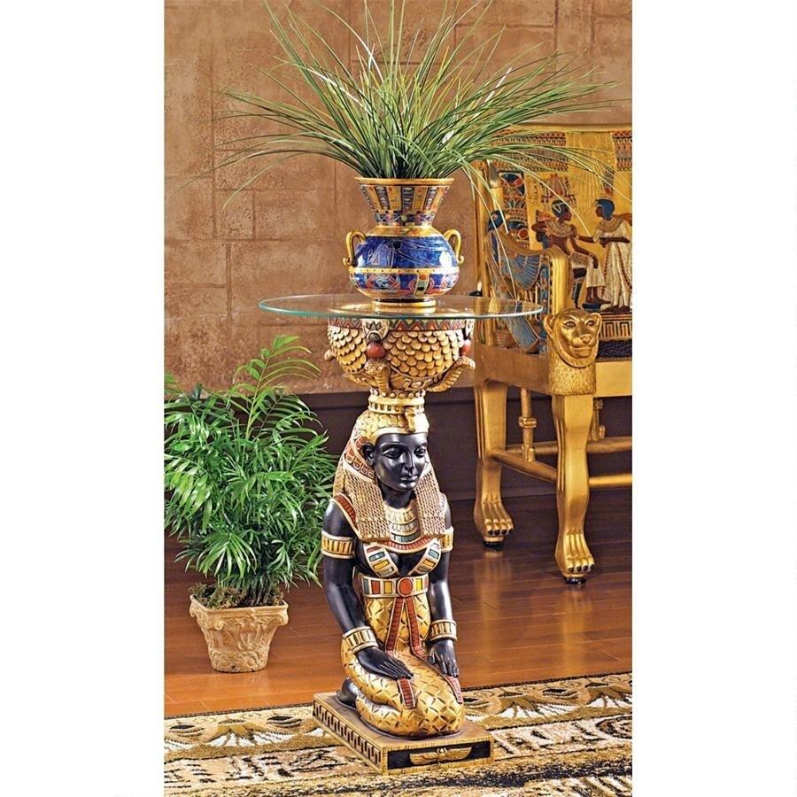 デザイン・トスカノ製 エジプトの女神 イシズ神 ガラストップ テーブル彫刻 彫像(輸入品)