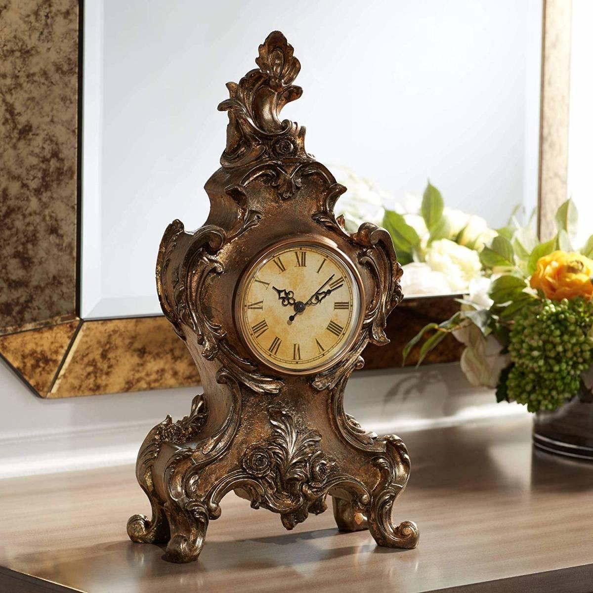 ケジントン・ヒル製 タイロン・ビンテージスタイル 置時計 レプリカ 彫刻像 装飾置物 彫像 高さ約41cm(輸入品)