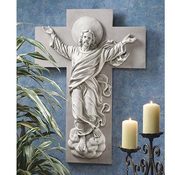 西洋壁彫刻 復活したキリスト昇天像 彫像 カトリック/ He is Risen Christ Ascension Wall Sculpture(輸入品)