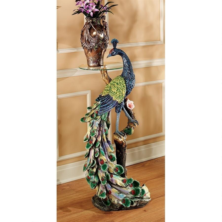 孔雀のとまり木彫台座 ガラス・トップ テーブル 彫像 彫刻 デザイン・トスカノ製 (輸入品)