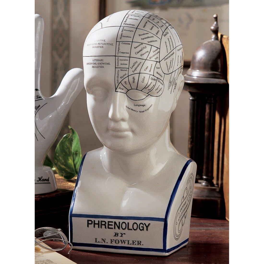 西洋骨相学 顔相 人相占い アンティーク風占い頭部像 彫刻 彫像 フレノロジー 模型オブジェ デザイン・トスカノ製(輸入品)