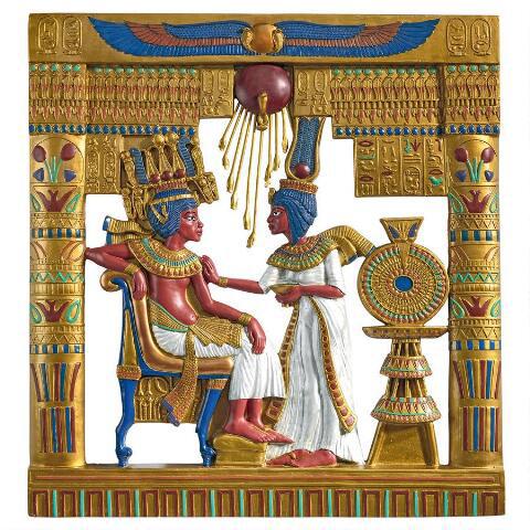 ツタンカーメンとアンケセナーメン 壁掛けレリーフ壁画 オブジェ彫刻 彫像/ Royal Cartouche Sculptural Frieze(輸入品)