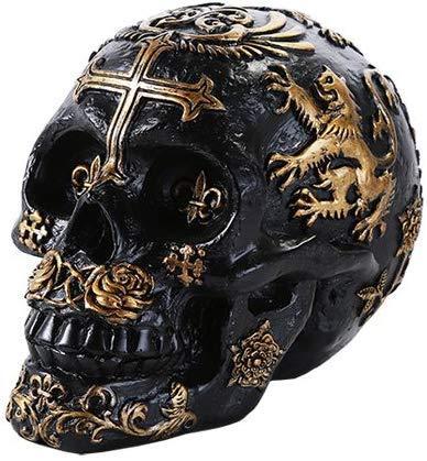 セント・ジョージのブラックとゴールド色のテンプル騎士団の紋章が入った、ロイヤル ライオンズ・スカル(頭蓋骨)グッズ彫刻 彫像(輸入品)