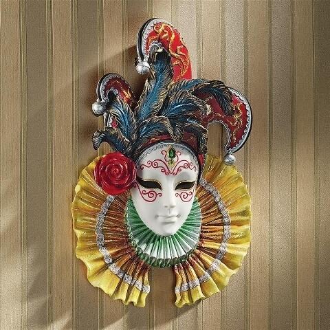 コロンビーナ ジェスター(道化師) ベネチアンウォールマスク 彫刻 彫像/ Design Toscano Colombina Jester Venetian Wall Mask(輸入品