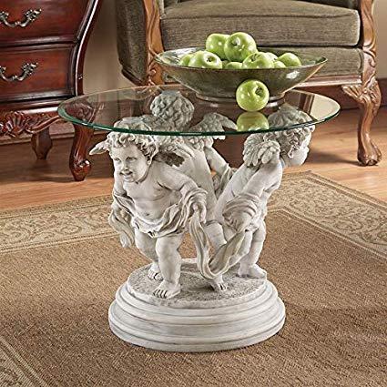 デザイン・トスカノ製 ベルニーニの3人の天使が支える、 ガラストップ テーブル彫刻 彫像(輸入品)