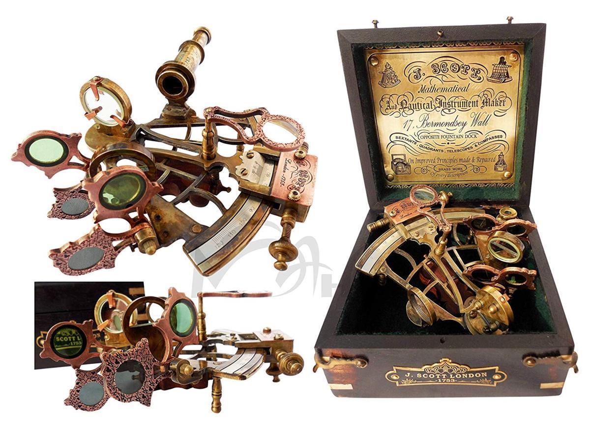 真鍮製 船の航行用 六分儀 ハードウッドボックス(箱)付き 彫刻 彫像(輸入品)