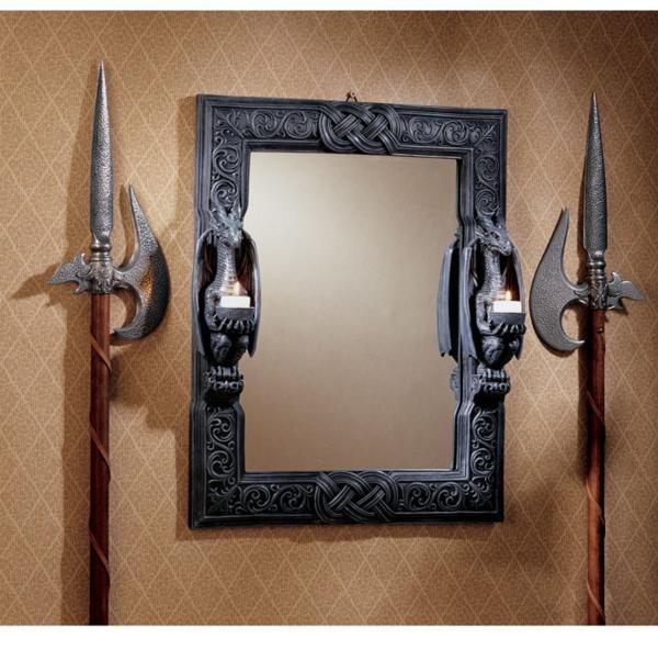 ドラゴンズソーン ツイン センチネル(歩哨) 中世風ドラゴン壁掛け鏡 ミラー 彫像 彫刻/ Twin Sentinal Dragons Mirror(輸入品