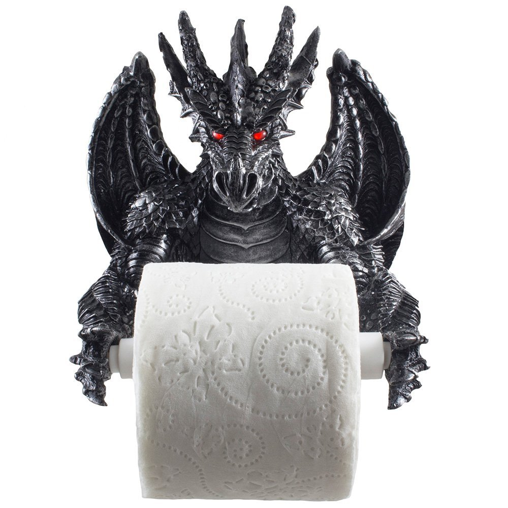 中世ゴシック調 金属風 ドラゴンのトイレットペーパーホルダー バスルーム装飾 彫像 彫刻/ Winged Dragon Toilet Paper Holder (輸入品