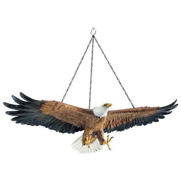 自由への飛翔 アメリカン白頭鷲 ハンギングバード、幅 約49cm 彫像 置物彫刻(輸入品