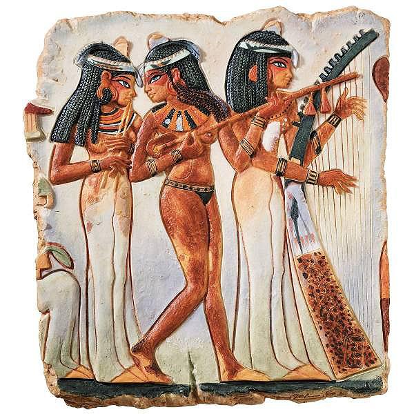 デザイン・トスカノ製 古代エジプト 音楽演奏者 寺院の乙女たち 壁彫刻 彫像/ Design Toscano The Temple Maidens Wall Sculpture(輸入品