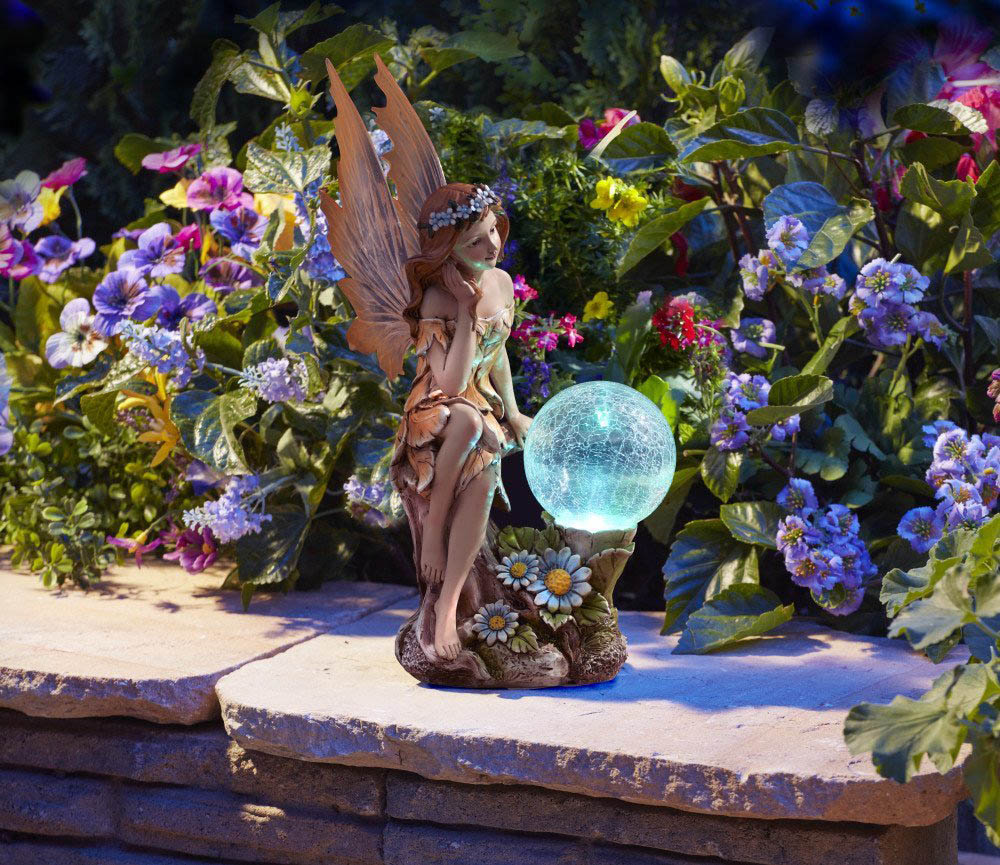 ムーンレイ ;アミ; ソーラーパワー カラー変更LED付き 妖精 ガーデン彫像/ Moonrays ;Ami Garden Pixie Statue with Solar Powered(輸入品