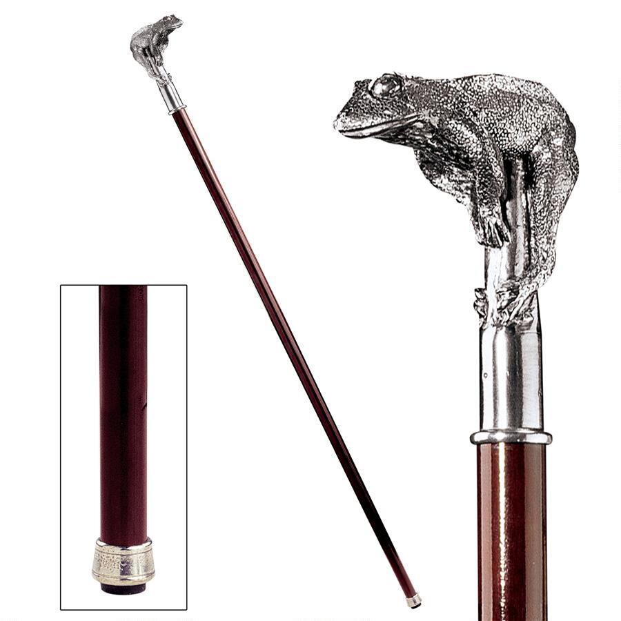 デザイン・トスカノ製 お洒落な 、ピューター製 カエルのハンドル飾り ソリッド堅材杖 ウォーキングスティック 紳士用(輸入品)