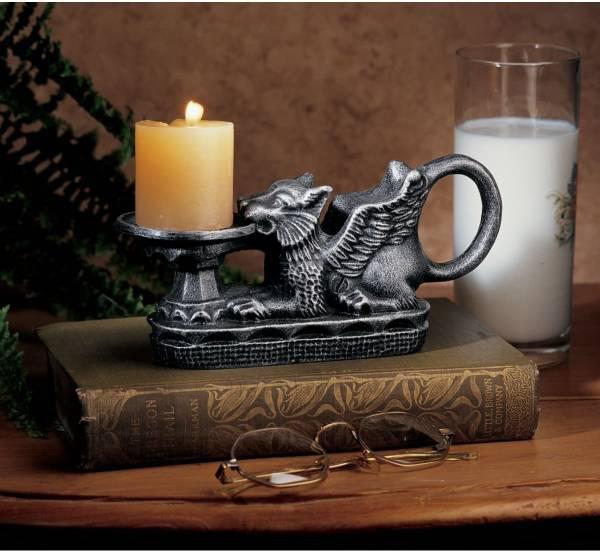 ホルテンス城グリフォン・キャンドルホルダー(燭台) 中世ヨーロッパスタイル彫像 彫刻/ Hortense Castle Gryphon Candle Holder(輸入品