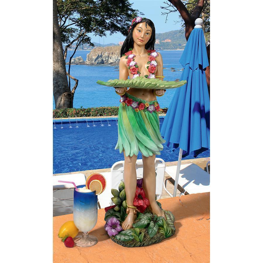 デザイン・トスカノ製 ハワイアン フラ ワヒネ(フラダンスの女性) サービングテーブル像彫刻 彫像(輸入品