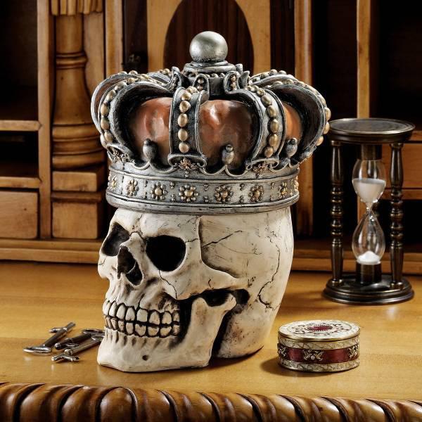 王冠を被るスカル 頭蓋骨 骸骨彫像 ゴシック調小物入れ彫刻/Design Toscano Crowned Skull Gothic Relic Box(輸入品