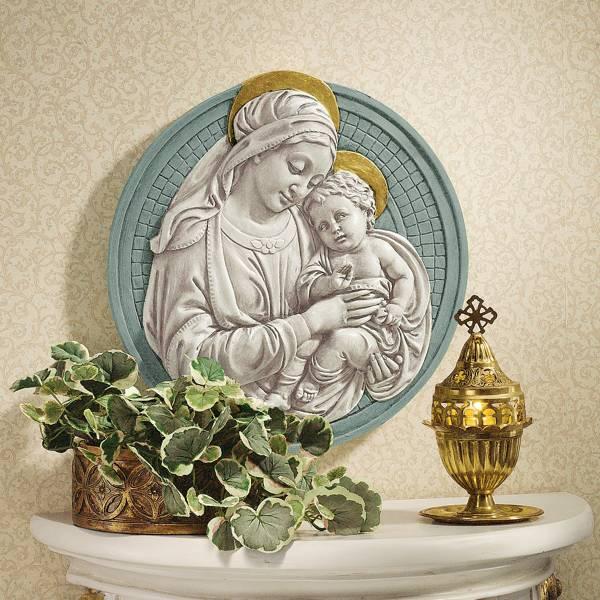 マリアとキリスト(聖母子)円形 大理石風 壁彫刻 彫像/ Madonna and Child Roundel Wall Sculpture(輸入品)