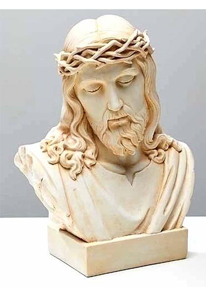カトリック宗教彫刻 イエス・キリスト 胸像 大理石風 彫像/ Jesus Bust Ivory Color(輸入品)