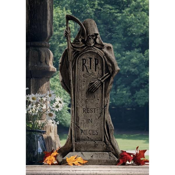 墓石を抱いて休むグリムリーパー(死神)ハロウィーン ゴシック風 ガーデン装飾 彫像彫刻 高さ約63cm(輸入品)