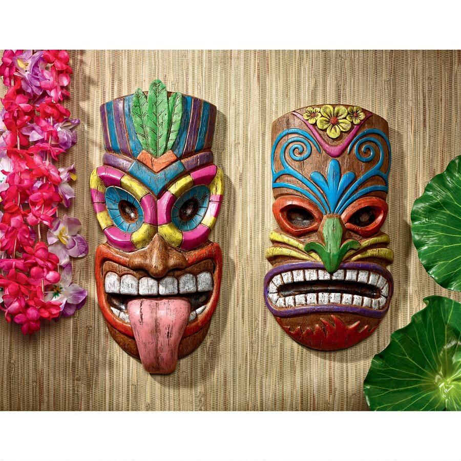 デザイン・トスカノ製 ハワイ島の神々 ティキ 壁彫刻 エスニック・仮面彫像(マイカ・ホアロハ(輸入品)