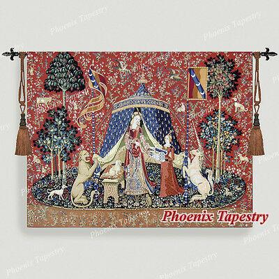 「我が唯一つの望み」 貴婦人と一角獣(ユニコーン)中世アート 美しいジャガード織り 壁掛けタペストリー 中世美術 壁装飾