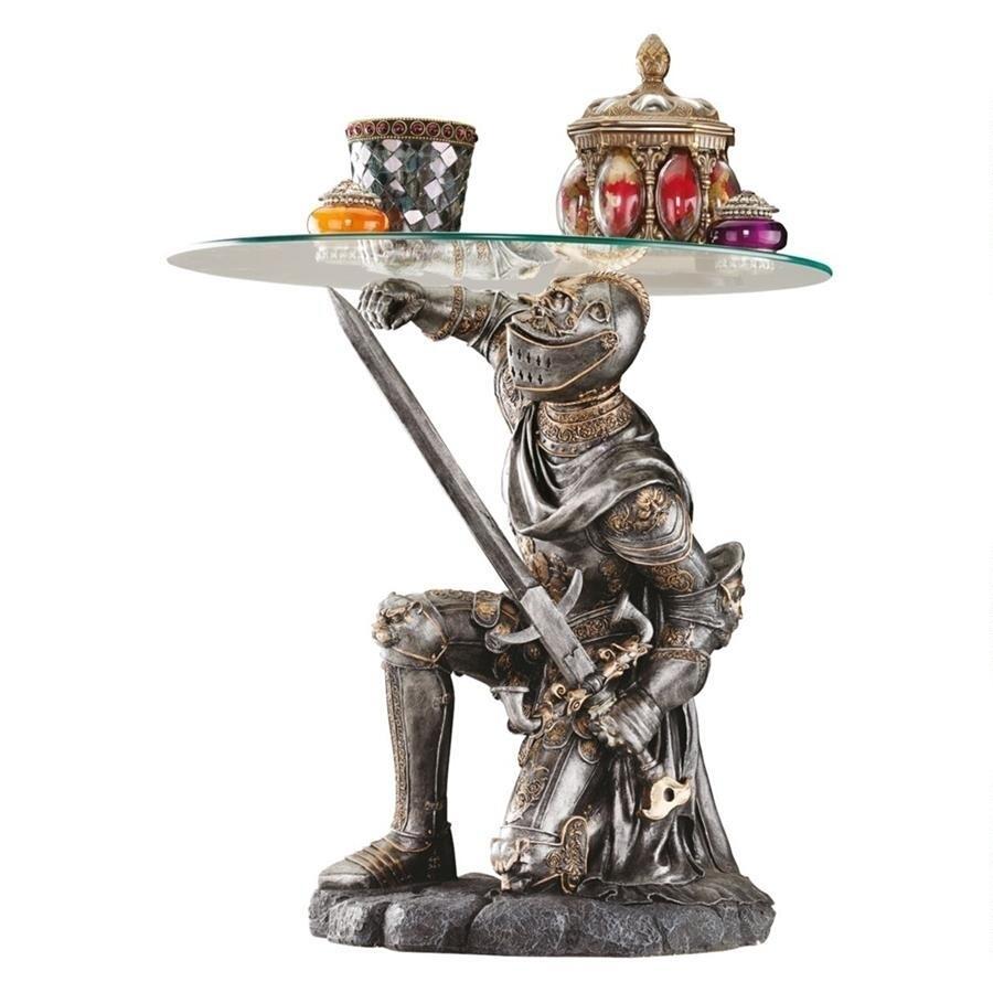 戦いに値する騎士の彫刻台座 ガラス・トップ テーブル 彫像 彫刻/ ゲームオブスローンズ 騎兵 中世 ドラゴン プレゼント 贈り物 (輸入品)
