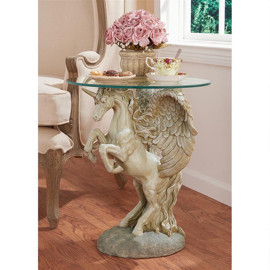 神秘的な翼を持ったユニコーンのガラステーブル 彫像 彫刻/ Mystical Winged Unicorn Sculptural Glass-Topped Table(輸入品