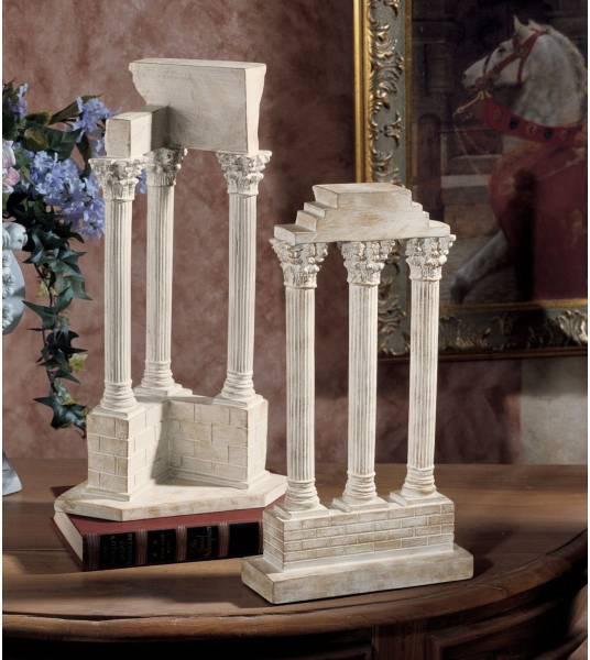 ローマ列柱 ストーン風 ローマ様式建築柱 彫刻 彫像 2柱セット/ Design Toscano Roman Forum Columns Set in Stone(輸入品