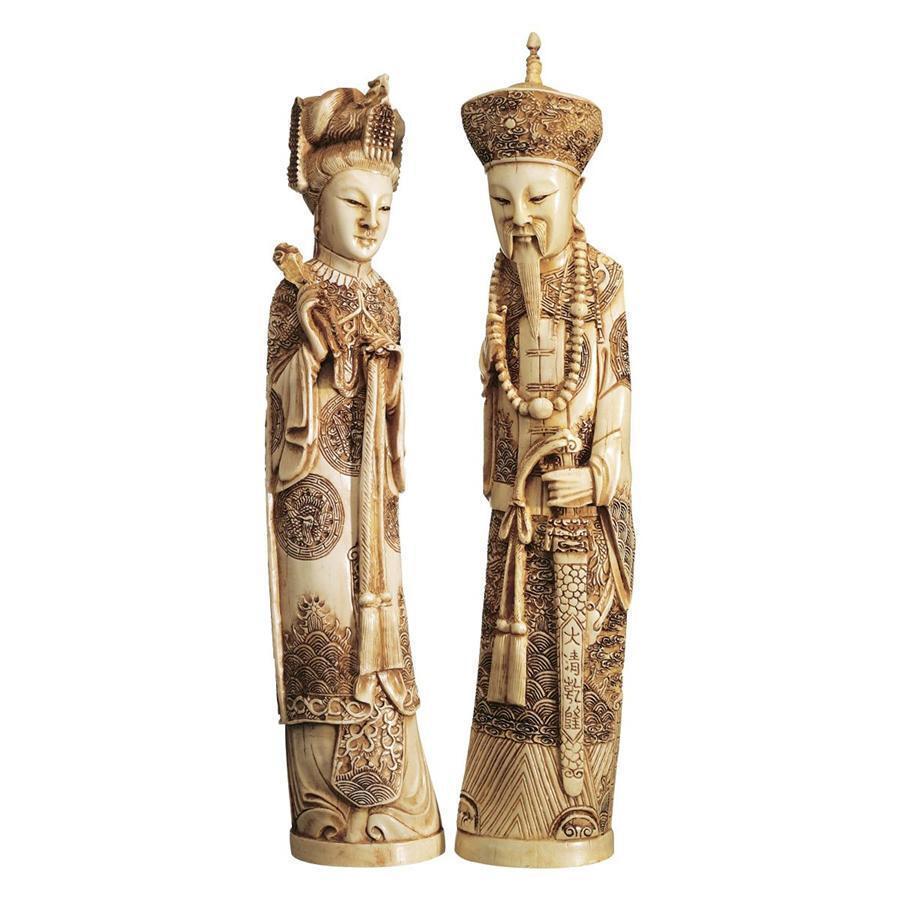 マンダリン・コレクション 象牙風 皇帝と皇后の彫刻人形セット 彫像インテリア(輸入品)