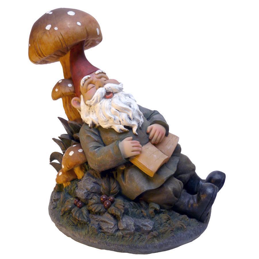 デザイン・トスカノ製 本を持って、居眠りする、庭のノーム(地の精の小人) アート彫刻 彫像(輸入品)
