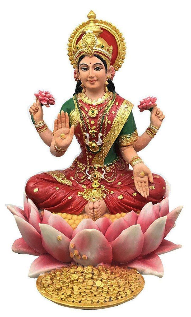 幸運を呼ぶ 蓮の花の上の 吉祥天(ラクシュミー) ヒンズー教 女神 彫像 彫刻/ Lakshmi Hindu Goddess on Lotus Statue Sculpture(輸入品)