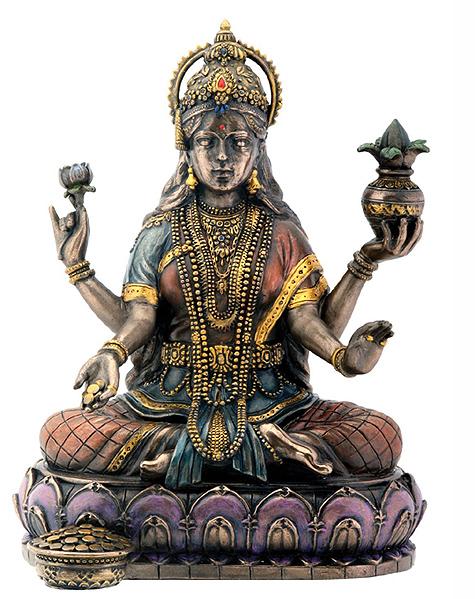 ブロンズ風 蓮の上に座る 吉祥天(ラクシュミー)富 豊穣 叡智 幸運の女神 彫刻 彫像/ Lakshmi On Lotus Hinduism Display Statue[輸入品