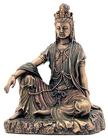 ヴェロネーゼ製 水月観音菩薩 仏像 ブロンズ風 彫像フィギュア/Water and Moon Quan Yin Statue (Kuan Yin) - Bronze(輸入品