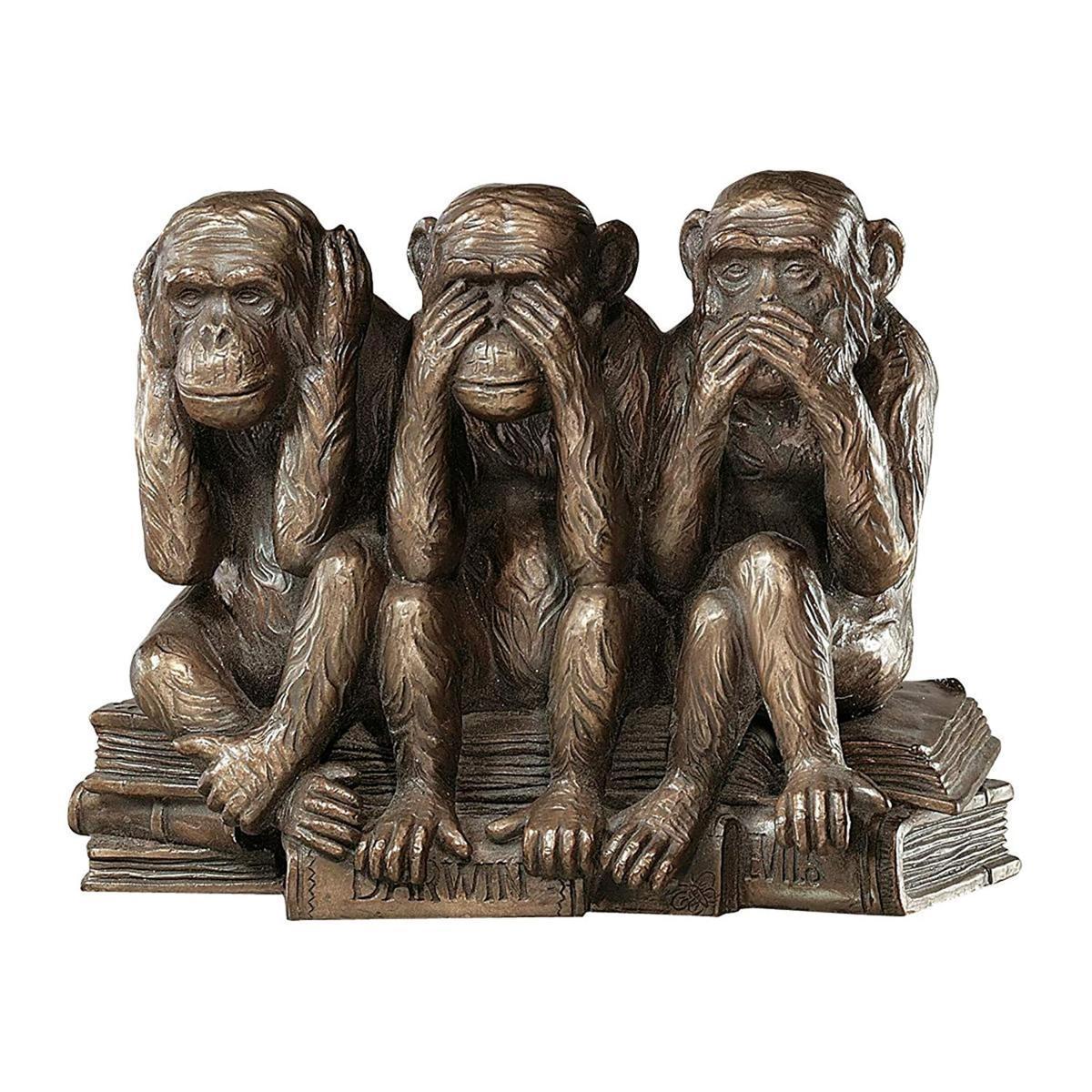 デザイン・トスカノ製 「見ざる、聞かざる、言わざる」三猿動物像 置物 彫刻 彫像 高さ約18cm(輸入品)