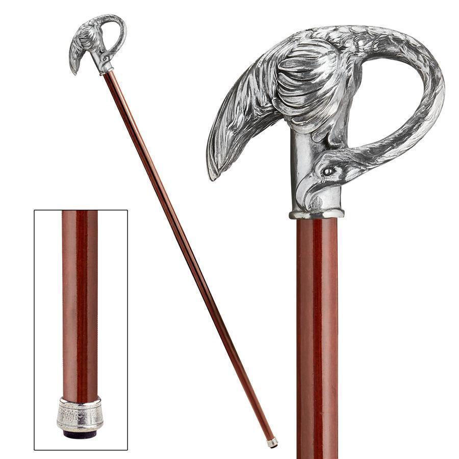 パドローネ・コレクション お洒落な、ピューター製 アールヌーボー風 白鳥のハンドル飾り ソリッド堅材杖 ウォーキングスティック(輸入品