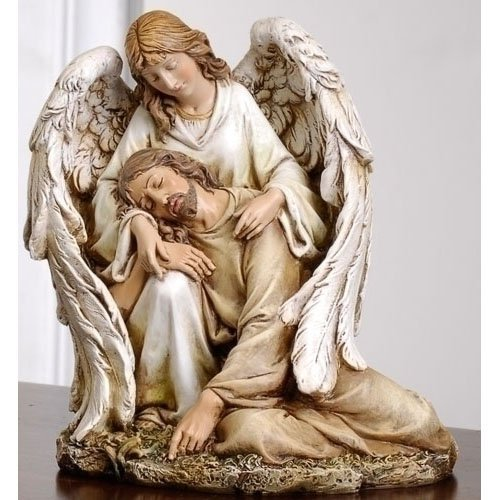 倒れたキリストを抱きかかえる天使(エンジェル) 高さ約18cm 多色塗り 彫刻 彫像(輸入品)