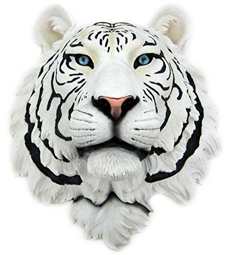 ホワイトタイガー 頭部 彫像 暖炉壁用インテリア/ White Tiger Head Mount Wall Statue Bust (輸入品