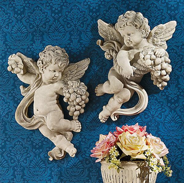 子供の天使の壁掛け 彫像 収穫を祝う ケルビム 天使の壁彫刻(輸入品)Cherub Harvest Wall Sculptures