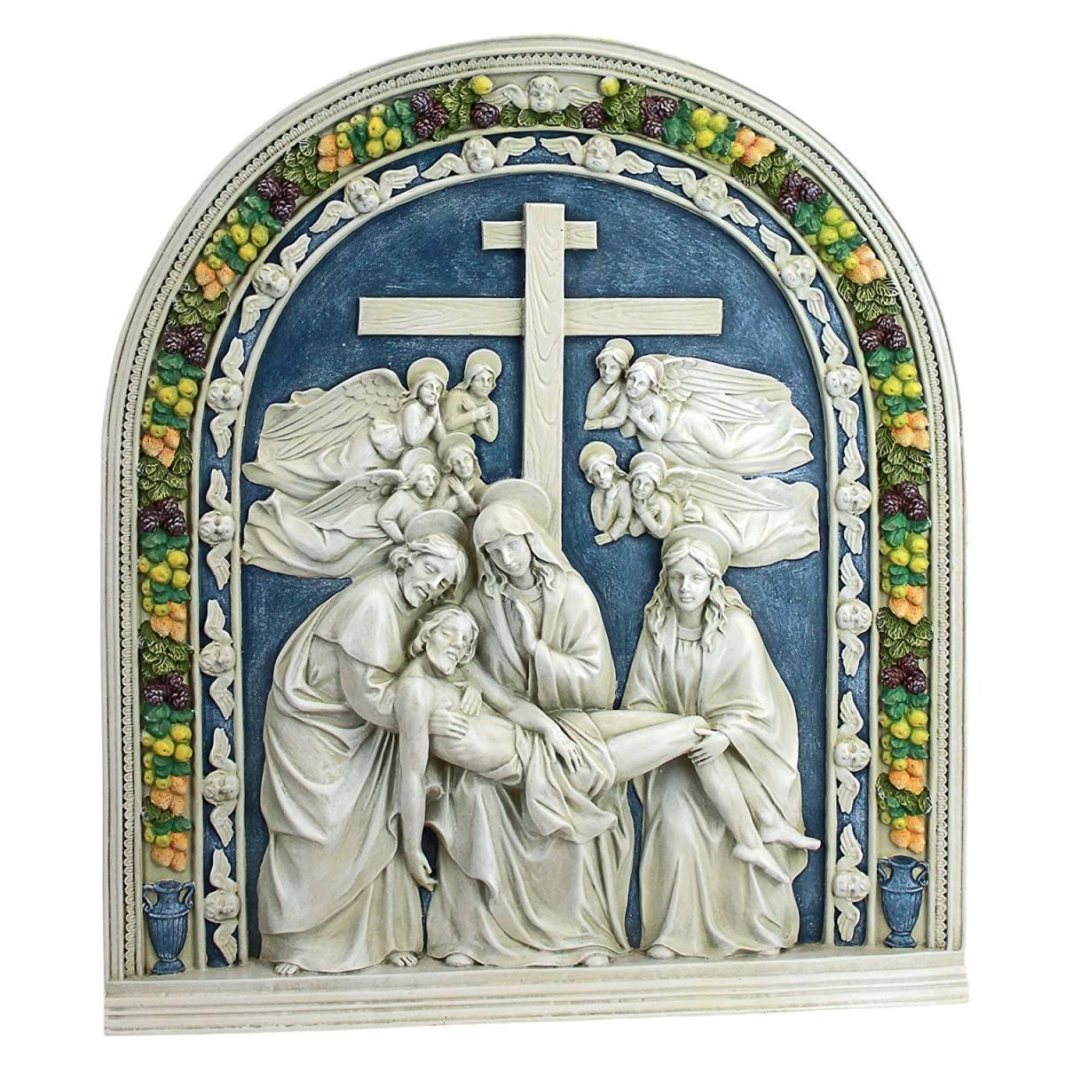 デザイン・トスカノ製 十字架から降ろされるイエス キリスト教ルネサンス芸術の壁彫刻 彫像(輸入品)