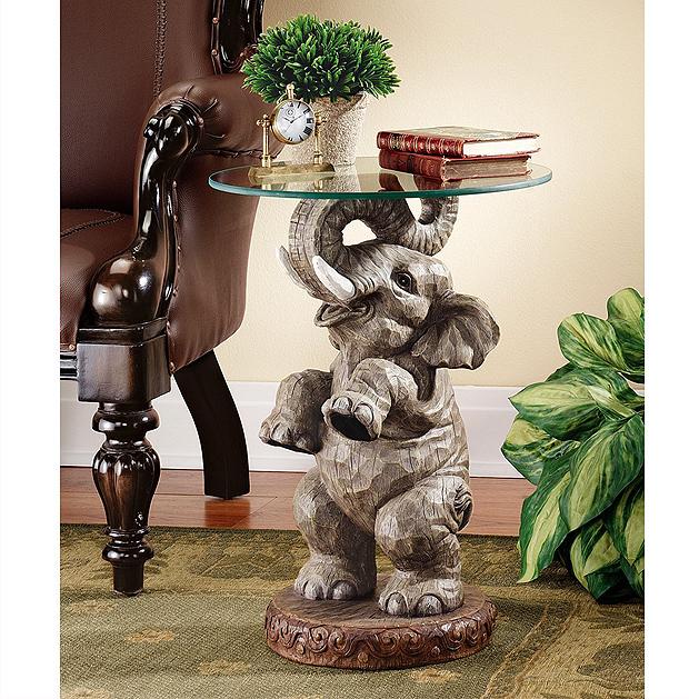 グッドフォーチュン(幸運を運ぶ、象のテーブル) エレファントエンドテーブル 彫像 彫刻/ エコカフェ パブ レストラン センター(輸入品