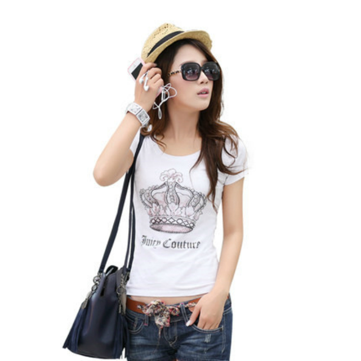 717627e3394 Quick delivery  ladies T shirt sewing women's short sleeve T shirt cute nice  T shirt painting T shirt 3D handmade T shirt top cute design T shuts dance  ...